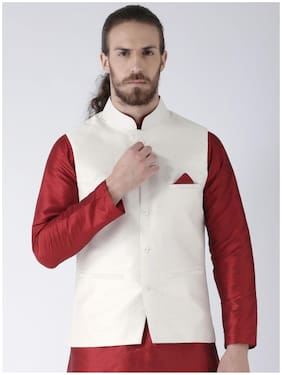 NAWAB SAHEB Men White Solid Regular Fit Ethnic Jacket