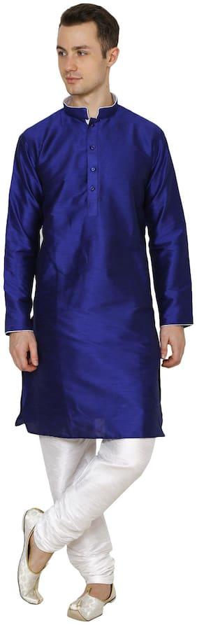 Nawab-saheb Men's Straight Long Silk Blend Kurta