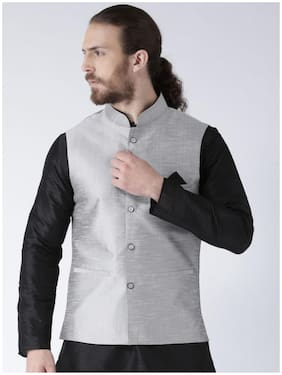 NAWAB SAHEB Men Grey Solid Regular Fit Ethnic Jacket