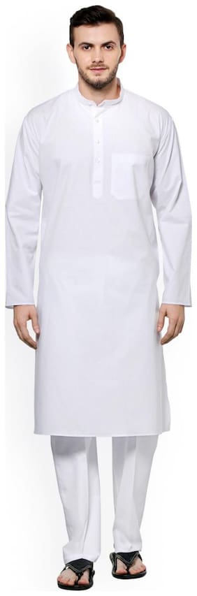 Nawab Saheb White Cotton Kurta Pyjama Set