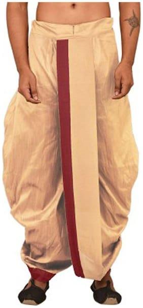 NAWAB SAHEB Blended Solid Regular dhoti Dhoti - Beige
