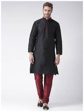NAWAB SAHEB Men Regular fit Dupion Full sleeves Solid Kurta Pyjama - Black