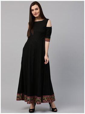 Nayo Black 3/4th Sleeve Cold Shoulder Cotton Floor Length Anarkali Kurta