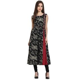 Nayo Black Printed Sleevless Cotton A-Line Kurta