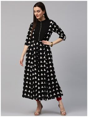 Nayo Black Printed 3/4th Sleeve Cotton Anarkali Kurta