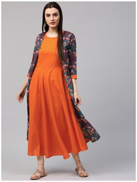 Nayo Blue & Orange Printed 3/4th Sleeve Cotton Double Layer A-Line Kurta