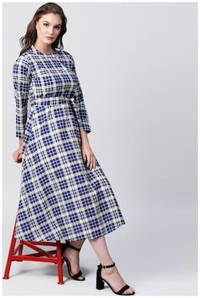 Nayo Blue Printed 3/4Th Sleeve Cotton A-Line Maxi Kurti Dress