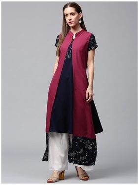 Nayo Blue Printed Short Sleeve Crepe A-Line Kurta With Pink Jacket