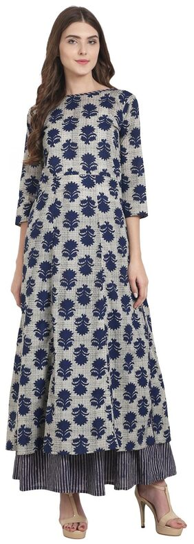 Nayo Blue Printed Cotton Long A-Line Kurta With Blue Printed Anarkali Skirt