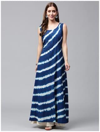Nayo Blue Tie Dye Sleeveless Cotton A-Line Kurta