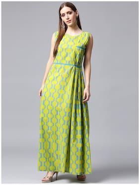Nayo Green Printed Sleeveless Cotton A-Line Kurta