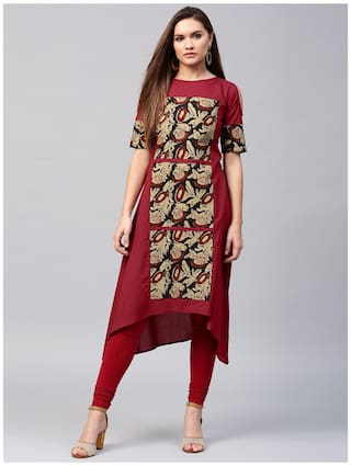 Nayo Women Cotton Printed Straight Kurta - Maroon