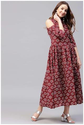 Nayo Maroon Printed 3/4Th Sleeve Cotton Flared Maxi Kurti Dress