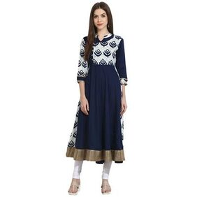 Nayo Navy Blue With Printed Yoke 3/4Th Sleeve Cotton Anarkali
