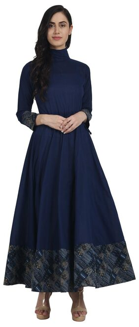 Nayo Navy Blue Full Sleeve Cotton Floor Length Anarkali Kurta With Closed Neck