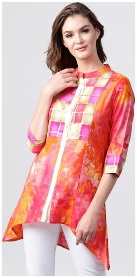Nayo Red Foil Printed 3/4Th Sleeve Cotton Short Kurti
