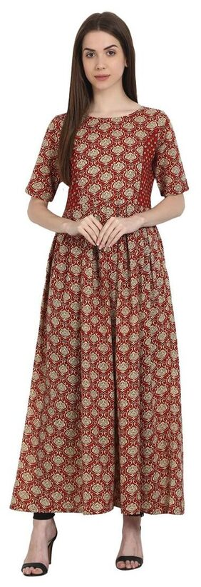 Nayo Red Printed Half Sleeve Cotton Anarkali Kurta