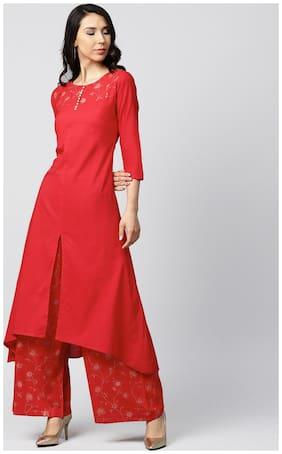 Nayo Women Red Solid Straight Kurta