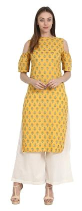 Nayo Yellow Printed Half Sleeve Cotton Off Shoulder Kurta