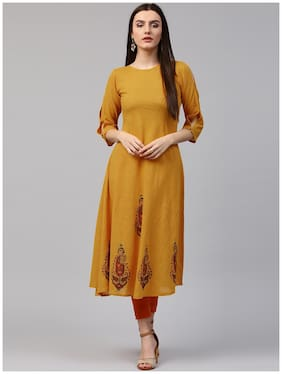 Nayo Yellow Block Printed 3/4th Sleeve Cotton A-Line Kurta