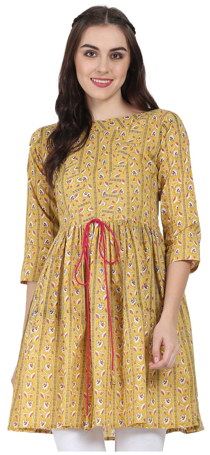 9343e99bd https   assetscdn1.paytm.com images catalog product . Nayo Women Cotton  Printed Anarkali Kurti - Yellow