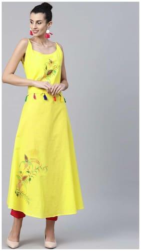 Nayo Yellow Block Printed Sleeveless Cotton Anarkali Kurta