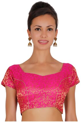 ND&R Printed chanderi blouse pink single piece