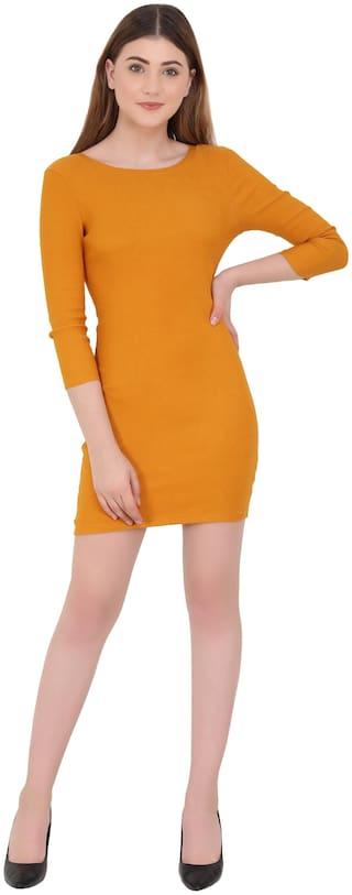 ND & R Mustard Solid Bodycon dress