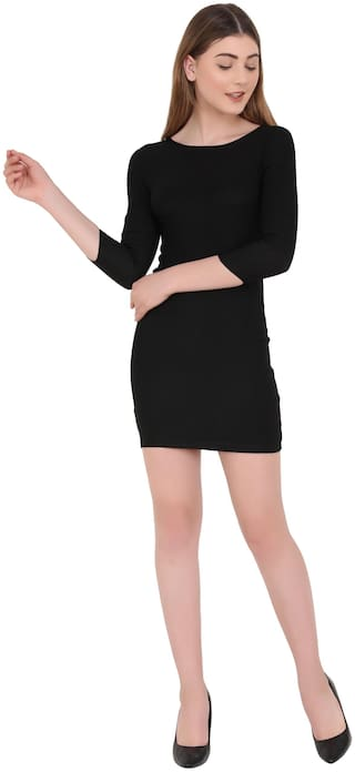 ND & R Black Solid Bodycon dress
