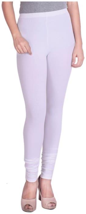 ND & R Women Lycra Solid leggins White