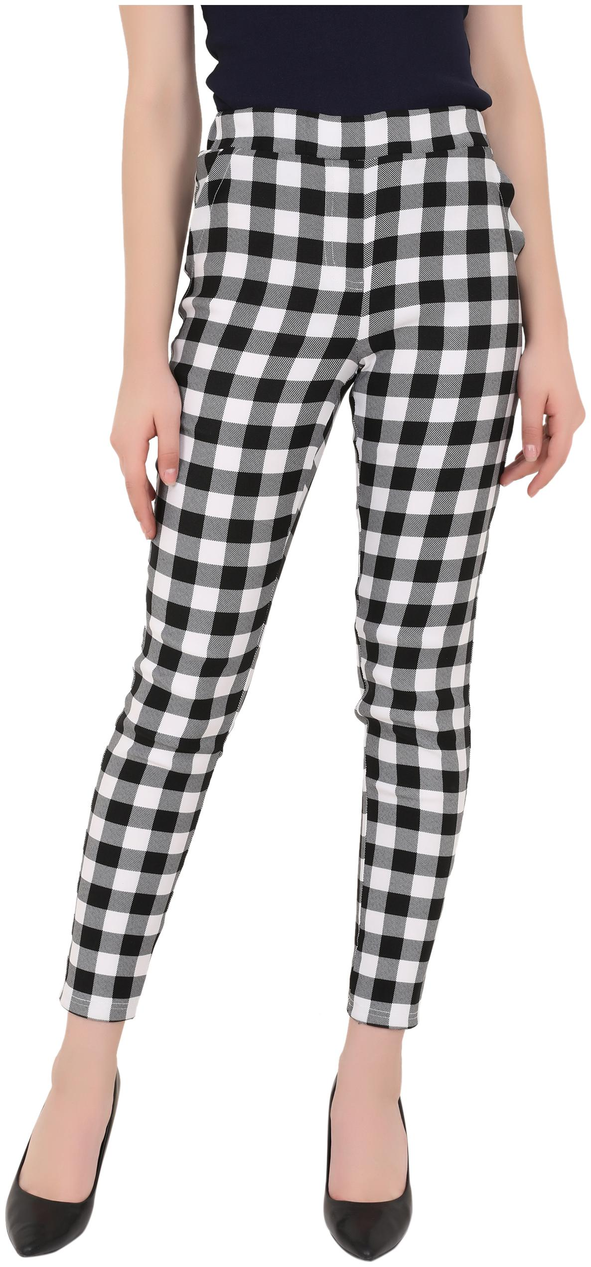ND   R Women Lycra Checkered Black   White Jegging