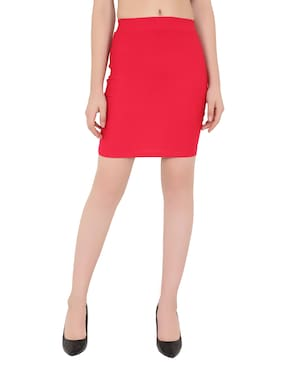 ND & R Solid Pencil skirt Mini Skirt - Pink