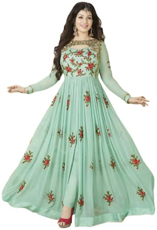 Neel Art Embroidered Semi Stitched Anarkali Salwar suit and Bottom Material with Dupatta set (Green)