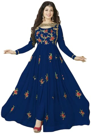 Neel Art Embroidered Semi Stitched Anarkali Salwar suit and Bottom Material with Dupatta set (Blue)