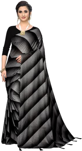 Neel Art Lycra Striped Black Color Saree For Women
