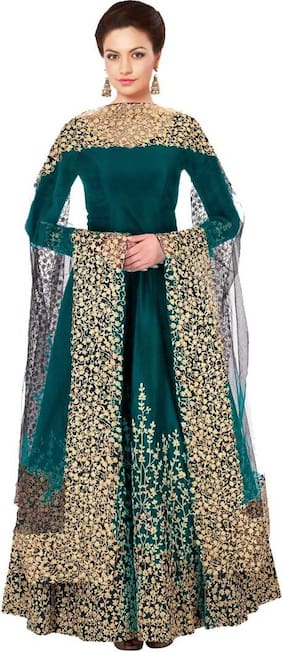 Neel Art Poly Silk Turquoise Embroidered Kurta with Bottom & Dupatta  For Women