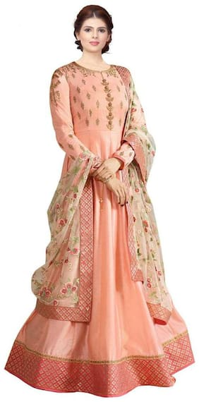 Neel Art  Women Poly Georgette Embroidered Peach  Dress Material