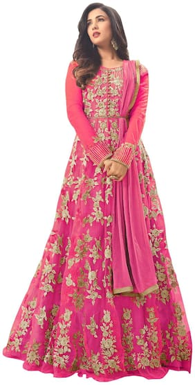 Neel Art Women's Net Anarkali Salwar suit and Bottom Material with Dupatta set Free size (Pink)