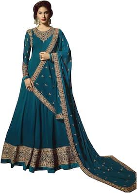 Neel Art Womens Georgette Anarkali Salwar Suit Bottom Material with Dupatta Set Turquoise