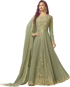 Neel Art Womens Faux Georgette Anarkali Salwar suit and Bottom Material with Dupatta set Semi Stitched (Green)