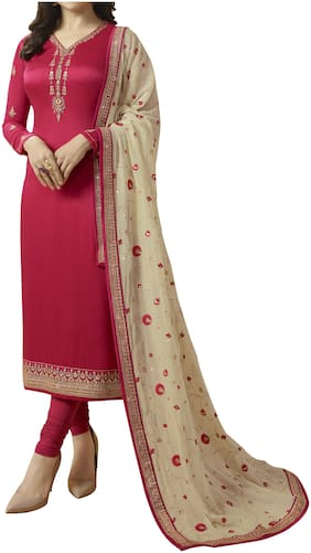 Neel Art  Women Satin Embroidered Red  Dress Material