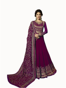 Neel Art  Women Poly Georgette Embroidered Purple  Dress Material