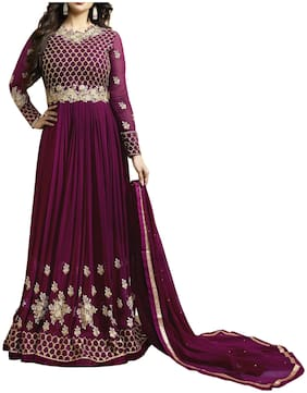 Neel Art Womens Anarkali Salwarsuit;Bottom Material with Dupatta Set (Purple)