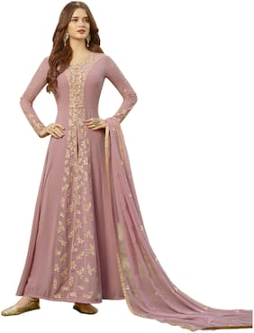 Neel Art Womens Faux Georgette Anarkali Salwar suit and Bottom Material with Dupatta set Semi Stitched (Pink)