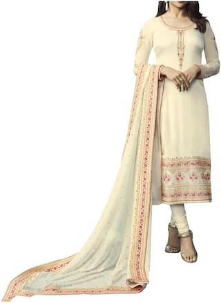 Neel Art  Women Satin Embroidered Beige  Dress Material