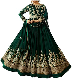 Neel Art  Women Poly Georgette Embroidered Green  Dress Material