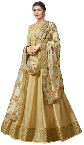 Neel Art  Women Poly Georgette Embroidered Beige  Dress Material