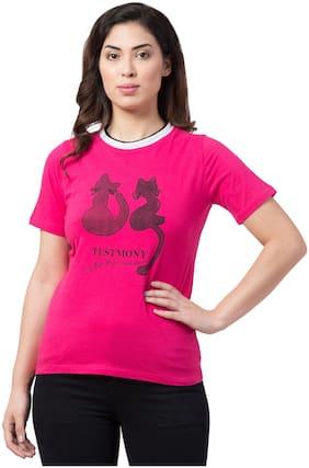 Neelja Women Pink Regular fit Round neck Blended T shirt