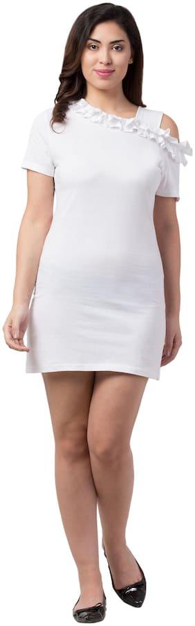 Neelja White Solid Bodycon dress