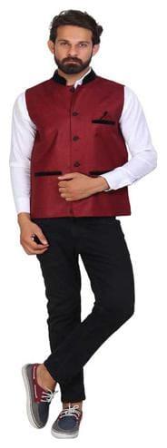 Vixeen Men Maroon Solid Regular Fit Ethnic Jacket